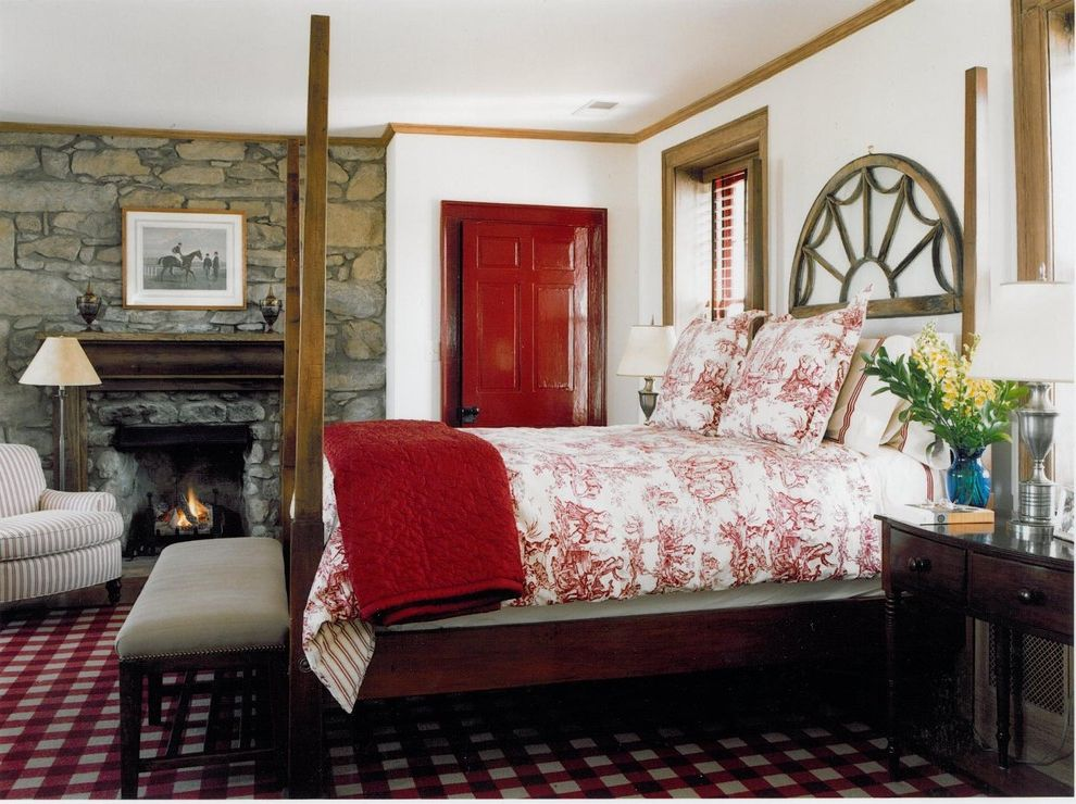 Red Door Consignment with Traditional Bedroom Also Bench Seat Blinds Fireplace Four Poster Bed Mantel Night Stand Plaid Carpeting Red Red Painted Door Stone Wall Striped Arm Chair Toile Wood Trim