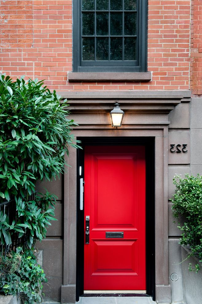 Red Door Consignment with Traditional Entry  and Address Numbers Chelsea Ny Entrance Lighting New York Outdoor Sconce Plants Red Front Door Townhouse