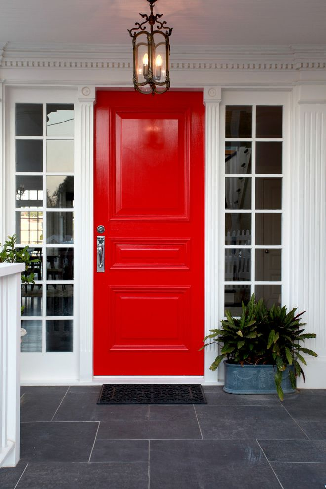 Red Door Consignment with Traditional Entry  and Bright Red Door Dentil Molding Fluted Pilasters Hamptons Hamptons Exteriors Hamptons Front Door Panelled Door Round Window Side Lights Sidelights Slate