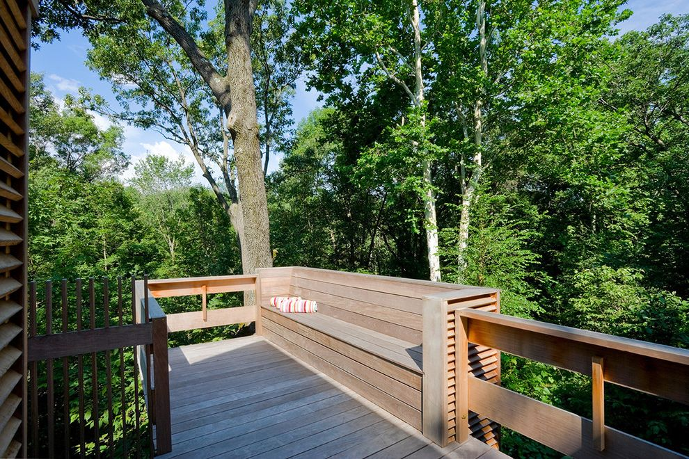 Red Hook Pool   Transitional Deck Also Built in Bench Cedar Deck Forest Landscape Outdoor Living Space Wood Bench Wood Deck Woods