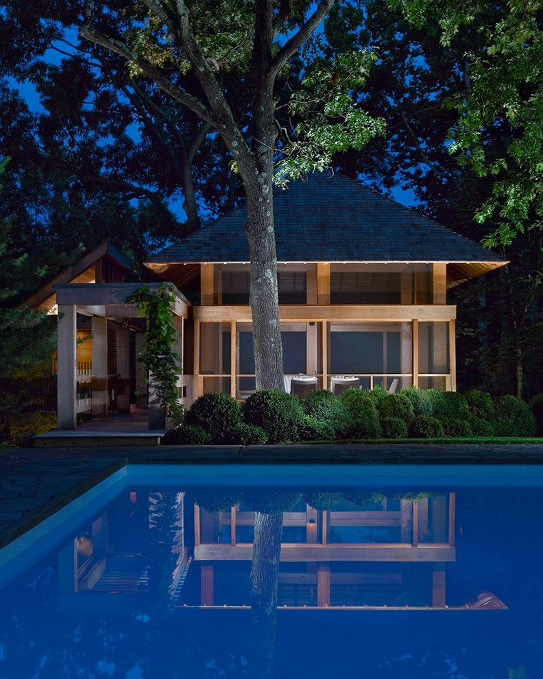 Red Hook Pool   Transitional Pool  and Backyard Living Cedar Arbor Cedar Deck Cedar Siding Detached Deck Night Lighting Pool House Pyramid Roof Rectilinear Pool Screened in Deck
