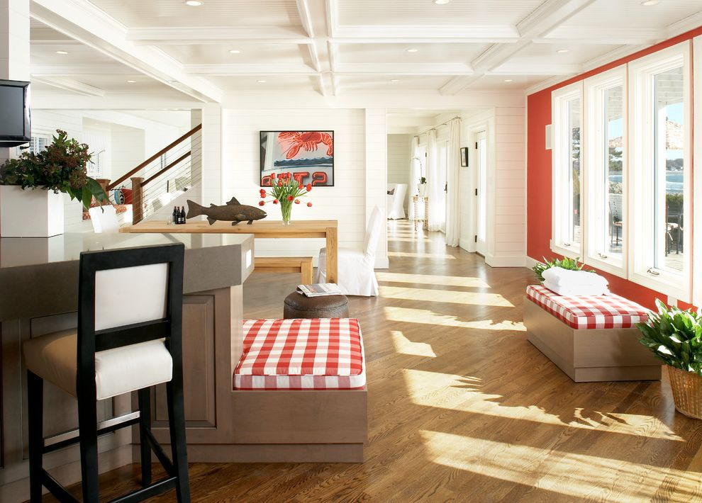 Red Lobster White Oak with Beach Style Hall Also Artwork Bench Seat Cable Railing Coffered Ceilings Counter Stools Diagonal Wood Floor Kitchen Island Red Accent Wall Red Gingham Cushions Slipcovered Dining Chairs Wood Floor Wood Siding