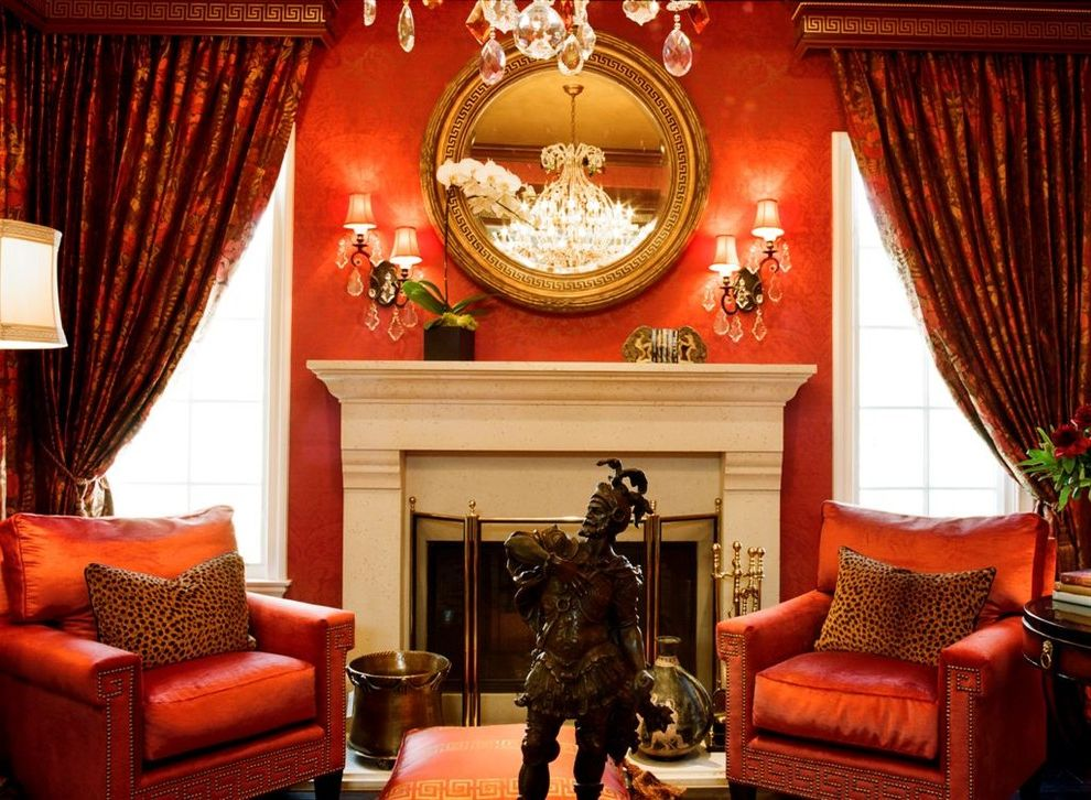 Red Orchid Spa with Traditional Living Room Also Art Brass Club Chair Cornice Fireplace Fireplace Screen Formal Living Room Gold Mirror Greek Key Living Room Mirror Moulding Nailhead Red Statue Wallpaper