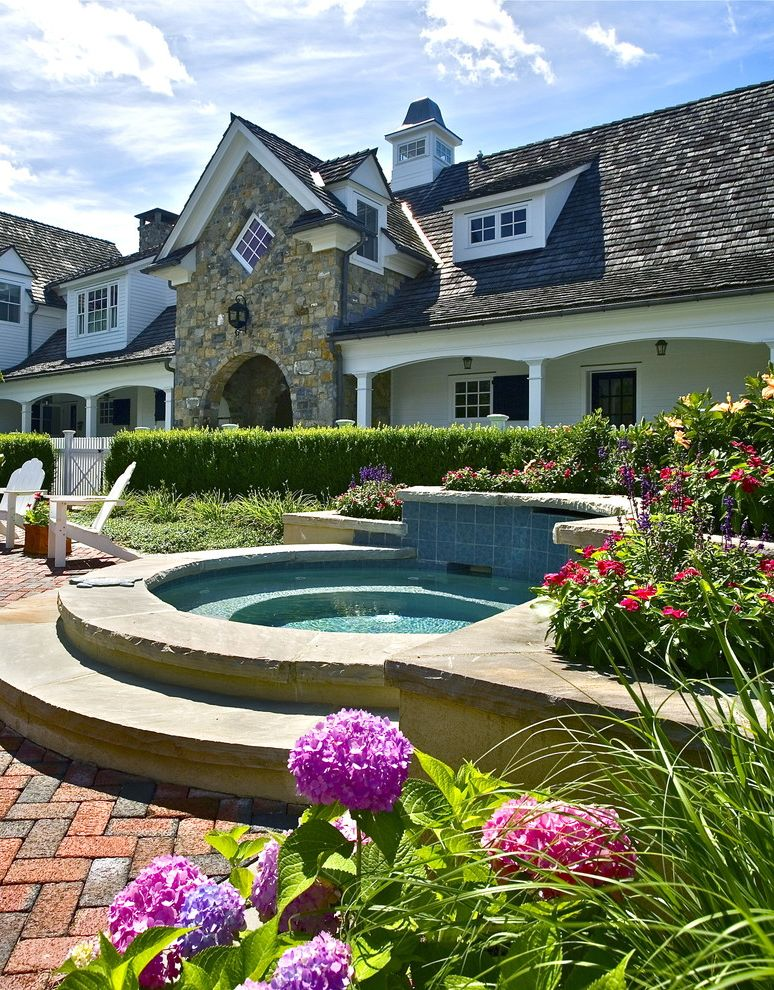 Refined Beauty Day Spa   Traditional Pool Also Brick Paving Colorful Blooms Dormers Hedge Hot Tub Hydrangeas Jacuzzi Patio Picket Fence Planters Raised Beds Shake Roof Spa Stone Wall