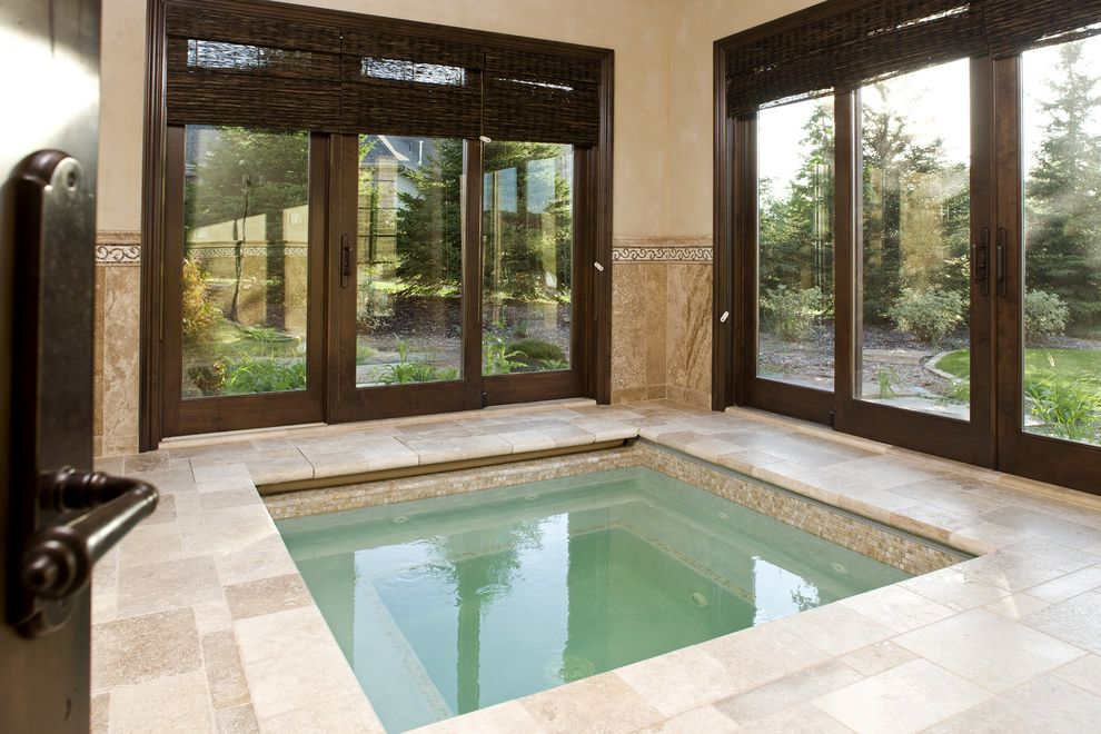 Refined Beauty Day Spa with Traditional Pool Also Floor Tile Glass Doors Hot Tub Indoor Pool Jacuzzi Patio Doors Spa Wainscoting Window Treatments Wood Trim