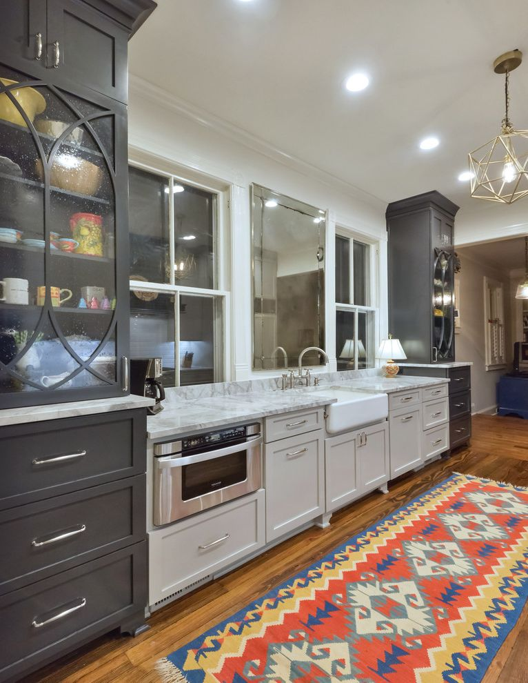 Refinishing Oak Floors with Traditional Kitchen  and Built in Microwave Glass Front Cabinets Kilim Rug Kitchen Make Over Pendnant Light Recessed Lighting Under Counter Microwave White Countertop