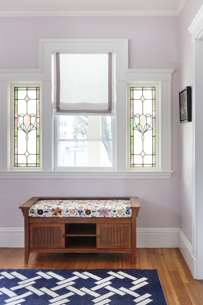 Refinishing Oak Floors with Victorian Entry Also Baseboards Crown Molding Entry Bench Lavender Walls Stained Glass Storage Bench Victorian White Wood Wood Flooring Wood Molding