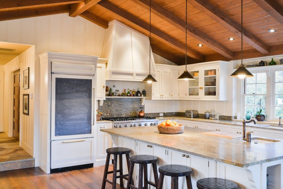 Refrigerator Styles   Farmhouse Kitchen  and Chalkboard Counter Stools Pendant Lighting Step Vent Hood White Kitchen Window Sill Wood Beams Wood Ceiling Wood Paneling
