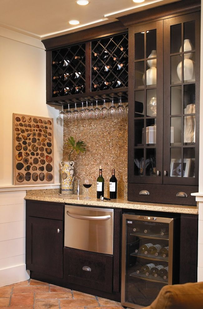 Refrigerator Without Ice Maker   Traditional Home Bar  and Coastal Living Crown Molding Dishwasher Drawer Espresso Fieldstone Glass Front Cabinets Java Kitchenette Silestone White Trim Wine Glass Rack Wine Glass Storage Wine Rack Wine Refrigerator
