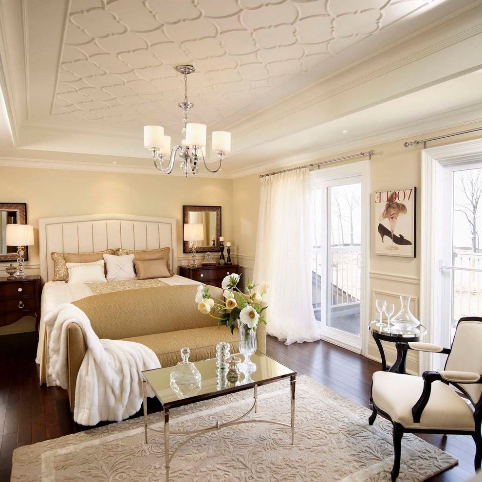 Regina Andrew Furniture   Traditional Bedroom Also Airy Beige Chandelier Classic Coffered Ceiling Contemporary Cream Dark Stained Wood Eclectic Formal French Glamour Master Bedroom Nightstands Plaster Ceiling Detail Trim Detail White Wood Floor