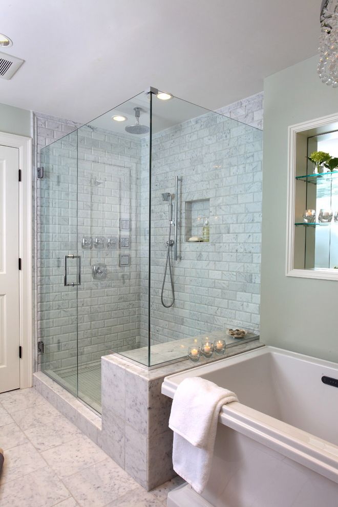 Reglaze Shower Tile   Traditional Bathroom  and Bath Frameless Glass Shower Glass Shower Marble Shower Soaker Tub Stone Tile Tile Tiled Floor Tiled Shower Tiled Wall