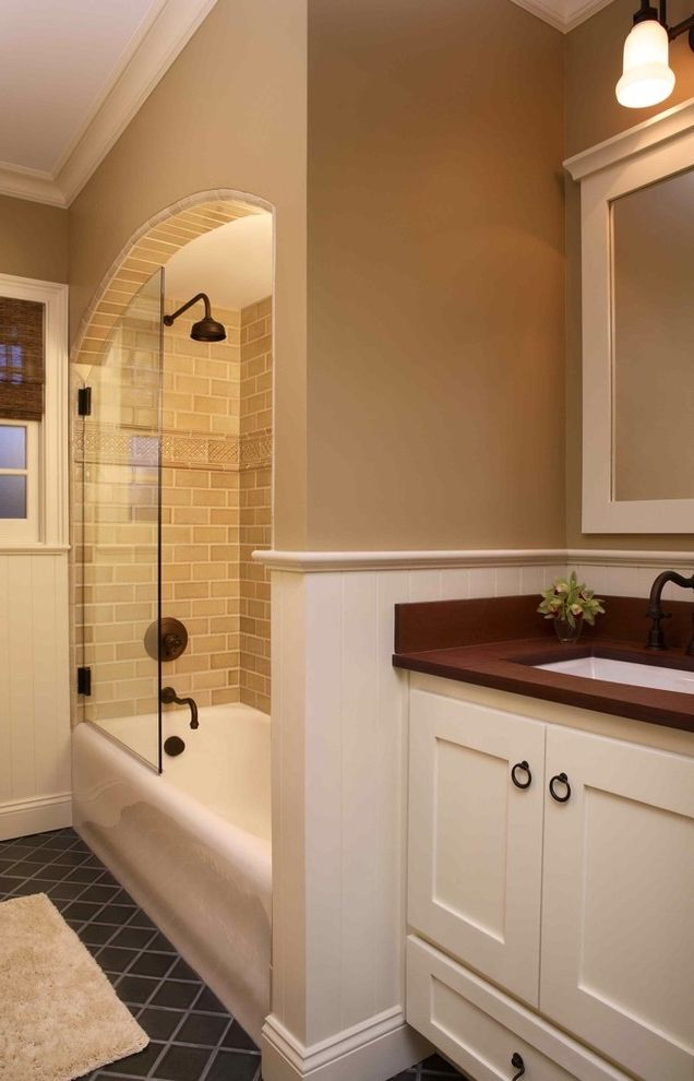 Reglaze Tub Cost   Traditional Bathroom  and Bathroom Ceramic Tile Eco Friendly Oil Rubbed Bronze Paperstone Traditional Wainscot Woven Roman Shade Yolo