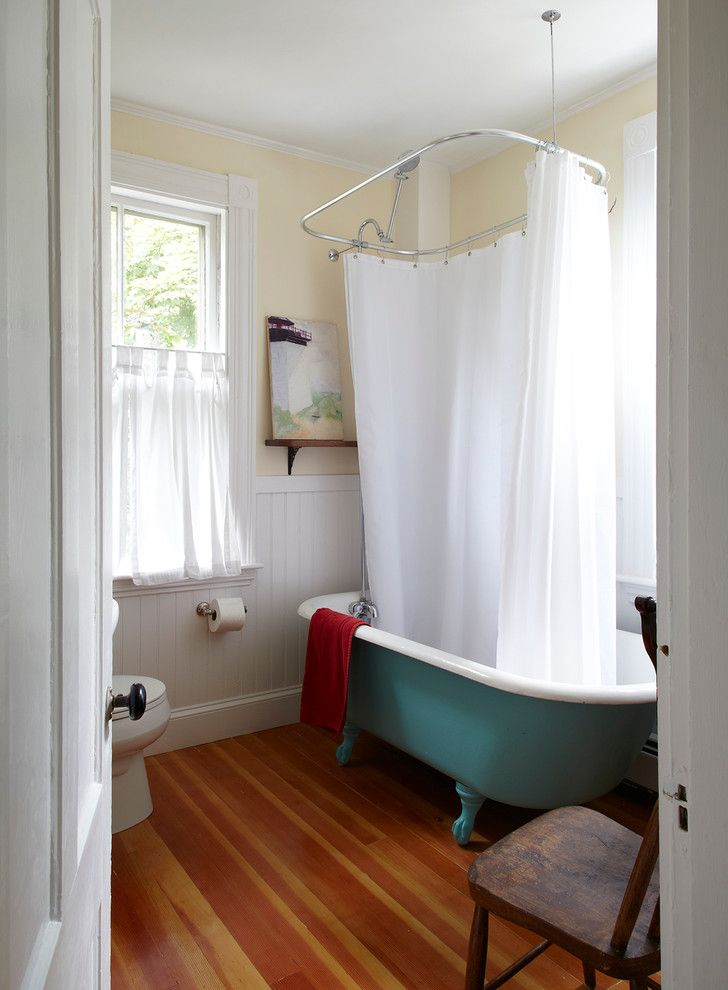 Reglaze Tub Cost with Beach Style Bathroom Also Antique Wood Chair Beadboard Blue Tub Butter Yellow Wall Cafe Curtain Chair Rail Clawfoot Bathtub Green Tub Painting Rustic Chair Teal Tub White Shower Curtain