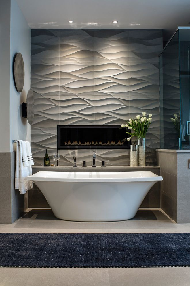 Reglaze Tub Cost with Contemporary Bathroom  and Beige Floor Tile Blue Runner Custom Fireplace Gray Tile Textured Tile