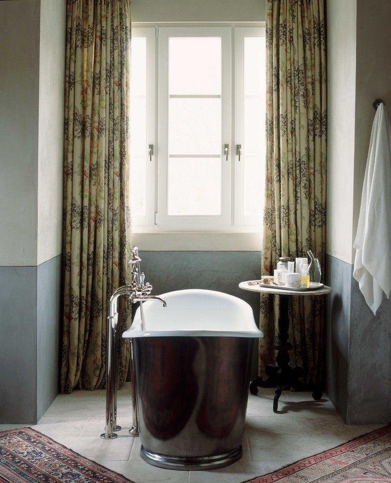 Reglaze Tub Cost with Traditional Bathroom Also Bath Black Tub Blue Curtain Faucet Freestanding Tub Oriental Carpet Rug Side Table Tiled Floor Tub Window Treatment