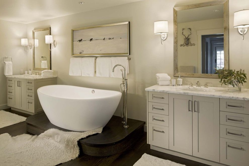 Reglaze Tub Cost with Transitional Bathroom  and Art Bath Chrome Egg Shaped Tub Freestanding Faucet Gold Raised Bath Raised Tub Sconces Stone Counter Tub Vanity White Vanity