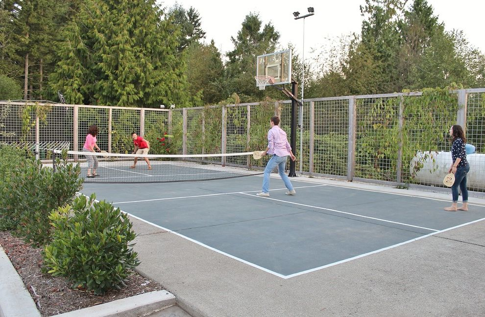 Regulation Volleyball Court   Farmhouse Landscape  and Basketball Court Farm Farmhouse Landscape Northwest Pickleball Court Wood Fence