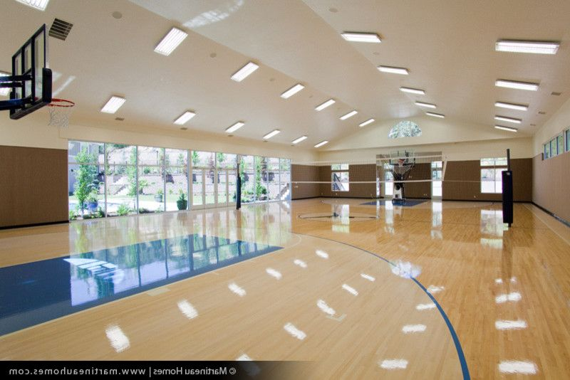 Regulation Volleyball Court   Traditional Home Gym Also Basketball Court Indoor Basketball Court