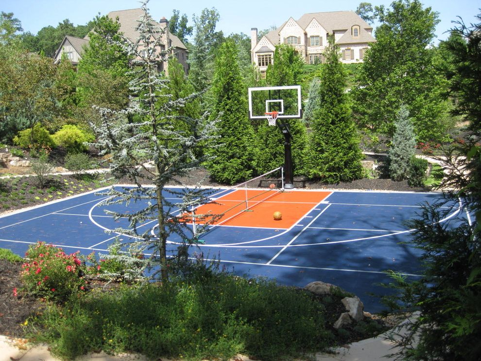 Regulation Volleyball Court with Eclectic Landscape Also Basketball Court Landscape Modular Sport Court Flooring Outdoor Basketball Court Pickle Ball Court Tennis Court Trees