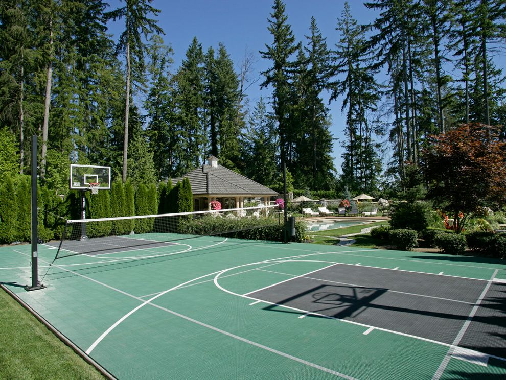 Regulation Volleyball Court with Modern Landscape  and Basket Ball Court Custom Home Pool Tennis Court