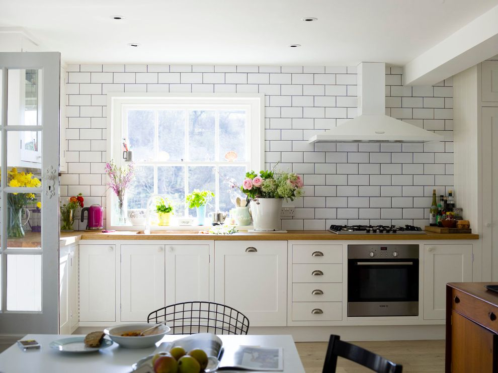 Removing Cigarette Smoke Smell From House   Farmhouse Kitchen  and Brick Tiling Flowers Metro Tile Metro Tile Splashback White Kitchen White Kitchen White Painted Kitchen White Painted Wood White Washed Floor