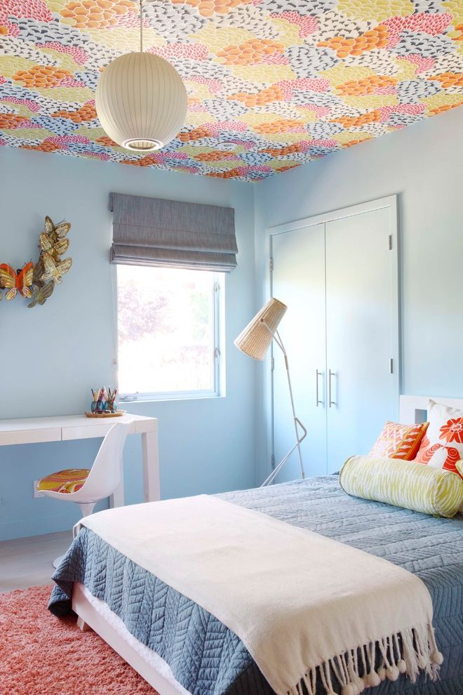 Removing Wallpaper Border   Midcentury Kids Also Blue Bedding Ceiling Wallpaper Indoor Outdoor Natural Overscaled Oversized Patterned Ceiling Shag Wallpapered Ceiling White Desk White Desk Chair