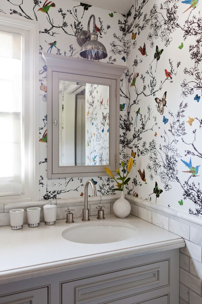Removing Wallpaper Border   Transitional Bathroom Also Bird Wallpaper Butterfly Wallpaper Colorful Wallpaper Eclectic Gray Cupboards Mid Century Wallpaper