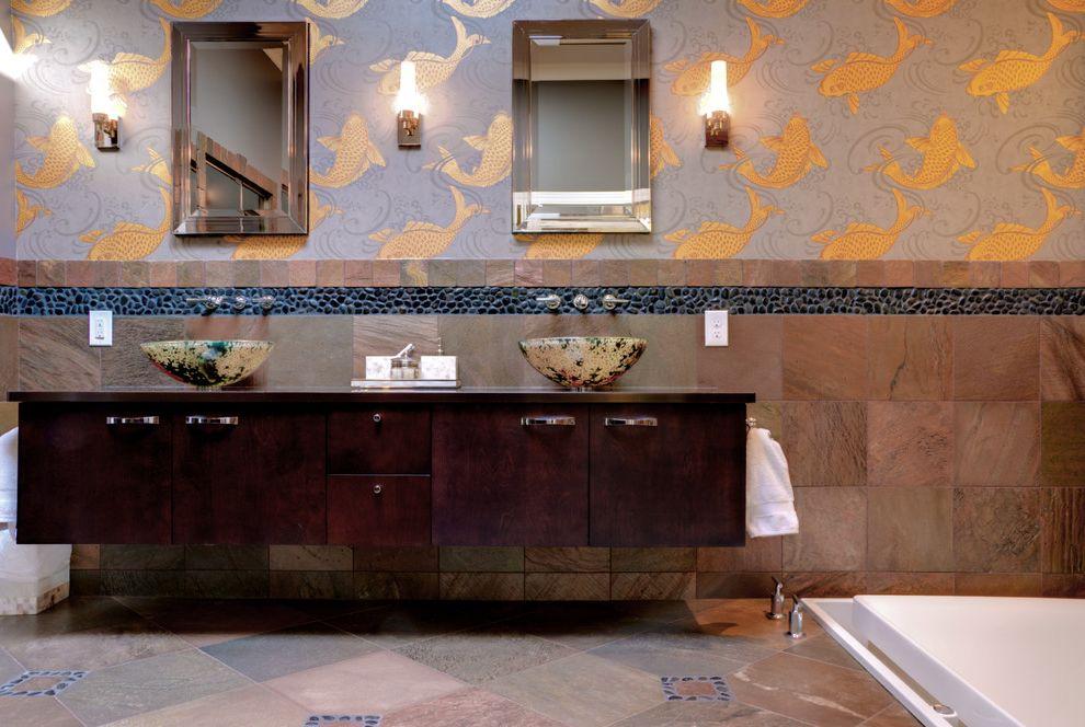 Removing Wallpaper Border with Asian Bathroom Also Carp Cincinnati Floating Cabinet Floating Vanity Gold Modern Pebble Tile Sunken Bathtub Tile Stripe Vessel Sink Wall Mount Faucet Wallpaper