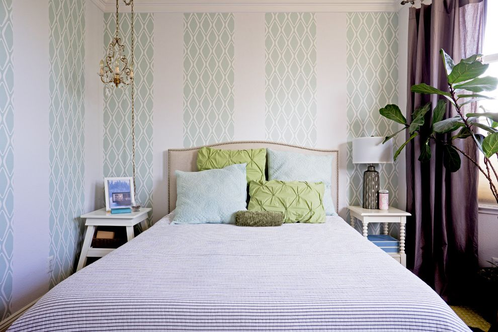 Removing Wallpaper Border with Transitional Bedroom  and Bedside Lamp Beige Headboard Bobbin Nighstand Dark Purple Drapes Diamond Pattern Wallpaper Green Pillows My Houzz Patterned Wallpaper Upholstered Headboard with Nailhead Trim