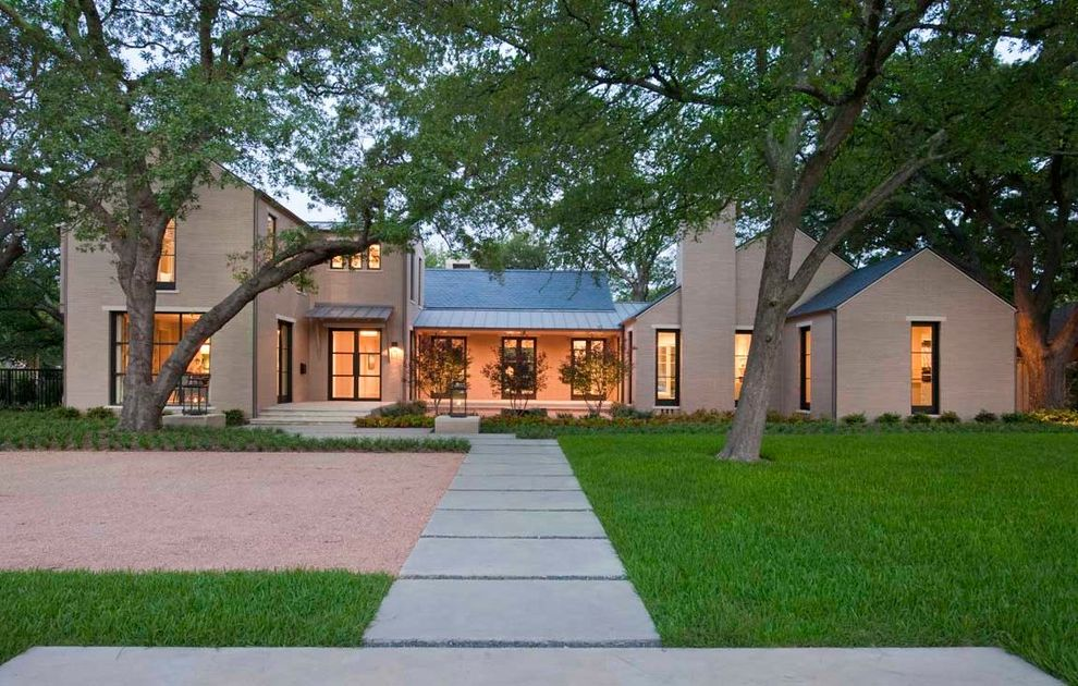 Renaissance Norman Ok   Transitional Exterior  and Brick Chimney Entry Front of House Glass Doors Landscape Lawn Metal Case Windows Metal Roof Mondo Grass Oak Tree Parking Court Pitched Roof Porch Portico Sidewalk Standing Seam Roof Stepping Stone Yard