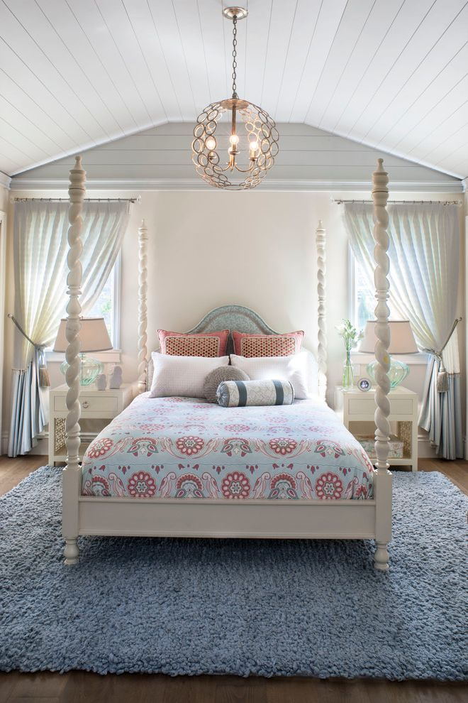 Renaissance Norman Ok with Beach Style Bedroom  and Blue Area Rug Chandelier Decorative Throw Pillows Four Poster Bed Sheer Curtains Tongue and Groove Cieling Turned Posts