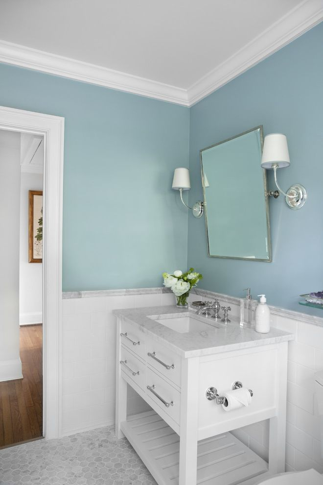Renaissance Norman Ok with Traditional Bathroom  and Bathroom Mirror Blue Wall Hexagonal Tile Marble Tile Sconce Subway Tiles Tile Flooring Tile Wall Wainscoting Wall Lighting Washstand White Wood Wood Trim