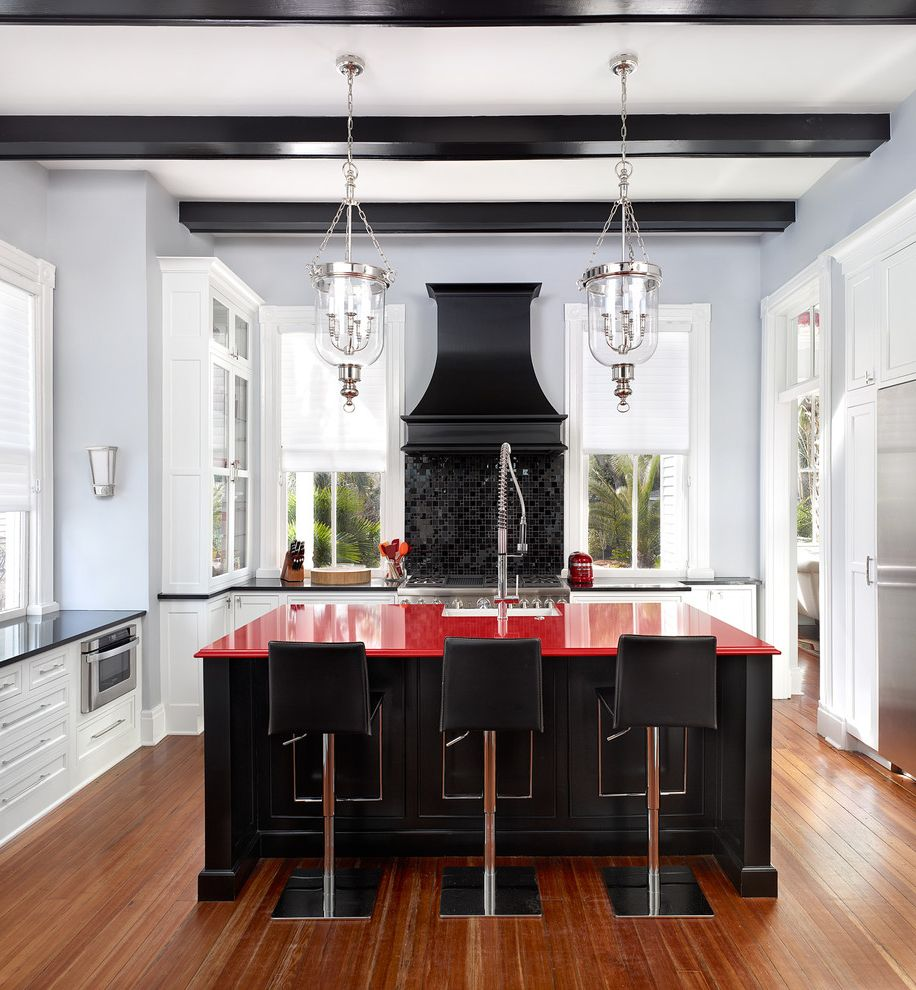 Renaissance Norman Ok with Transitional Kitchen  and Black and Red Black Beams Contrast Pendant Lights Pop of Color Red Countertop White Kitchen Windows