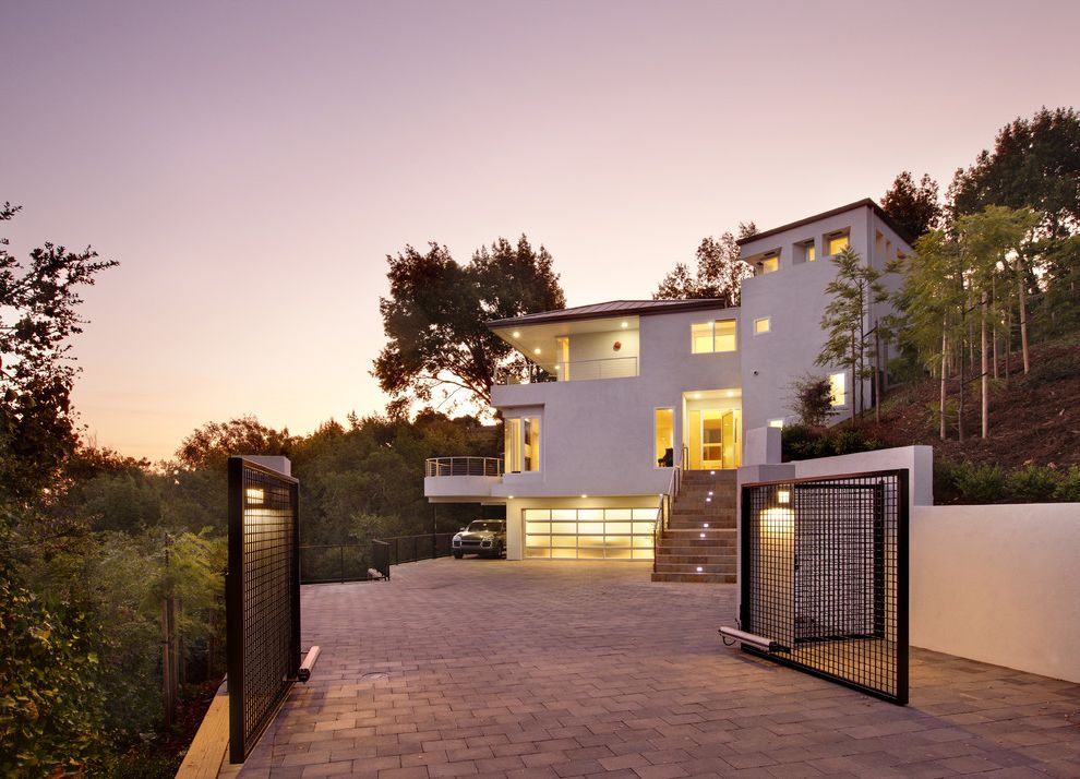 Residential Driveway Gates   Contemporary Exterior Also Brick Driveway Entry Gate Garage Door Hillside Night Outdoor Stairs Retaining Wall Slope Staircase Lighting Treehouse White House