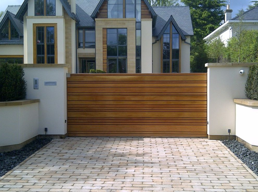 Residential Driveway Gates   Contemporary Exterior  and Automatic Gate Automatic Gates Cheshire Cedar Gate Contemporary Gate Driveway Gate Electric Gate Nice Automation Sliding Gate Timber Gate Wooden Gate
