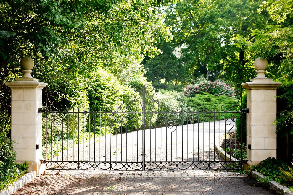 Residential Driveway Gates   Traditional Landscape Also Bushes Column Curved Driveway Double Gate Driveway Entry Entry Gate Entryway Estate Gate Gravel Driveway Gravel Pathway Metal Fence Metal Gate Pillar Shrubs