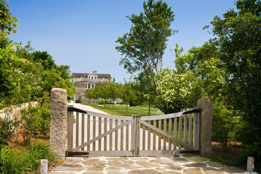 Residential Driveway Gates   Traditional Landscape  and Classic Cone Roof Driveway Flagstone Gate Lawn Stone Stone Pillar Strap Hinge Weathered Wood Wood