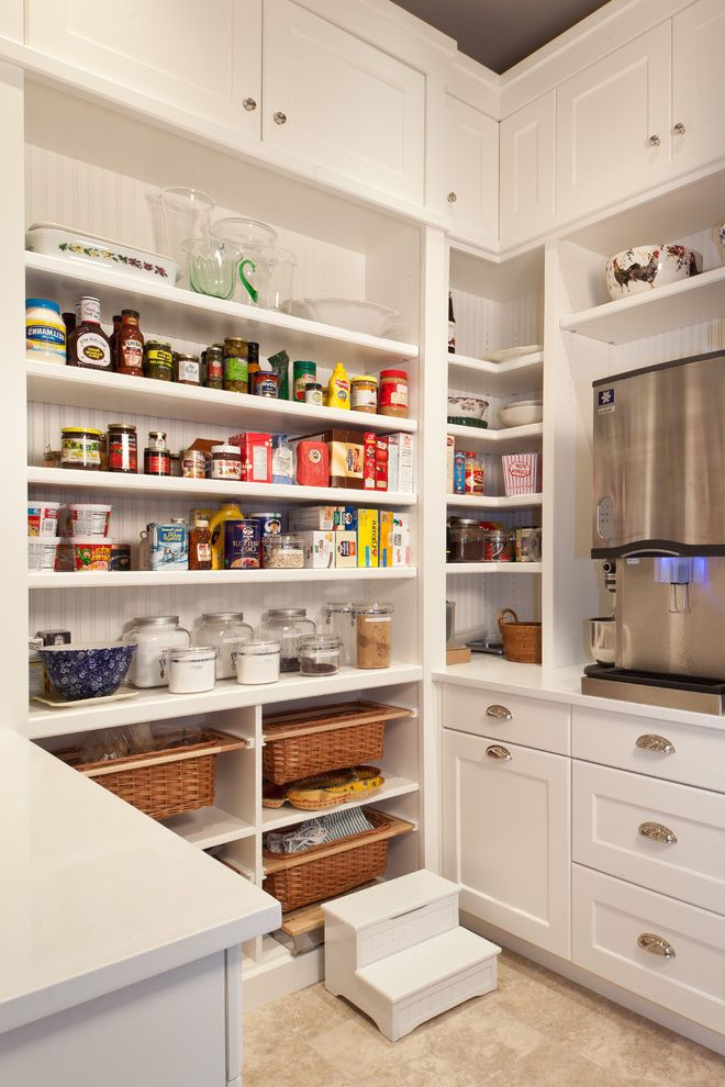 Residential Ice Maker with Traditional Kitchen Also Breadboard Corner Shelves Cottage Country Kitchen Food Storage Footstool Glass Jars Organization Pantry Shaker Style Storage Baskets White Kitchen