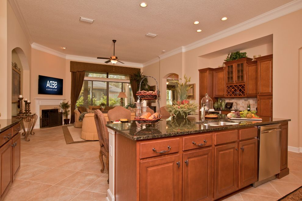 Resorts in Nassau   Traditional Kitchen  and Amelia Island Beach Home Coastal Kitchen Island Mediterranean Nassau County Northeast Florida Open Kitchen Resort Living Traditional Tropical Vacation Home