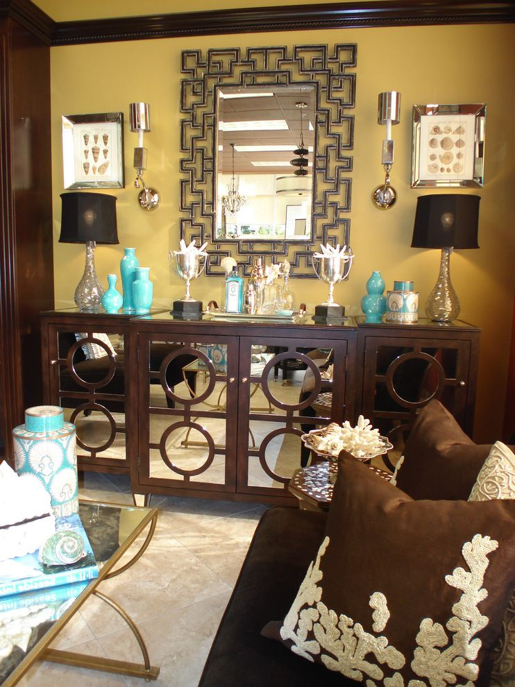 Restaurant Buffet Table for Sale   Contemporary Living Room  and Brown Buffet Chocolate Circles Console Coral Greek Key Hollywood Regency Mirror Mirrored Coffee Table Mirrored Console Shells Shelltanical Table Lamp Throw Pillows Trophy Turquoise Vase