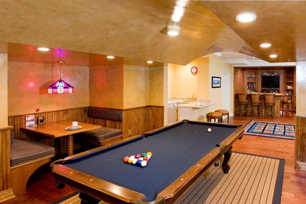 Restaurant Style Booster Seat   Traditional Basement  and Area Rugs Banquette Seating Barstools Beadboard Bench Seating Ceiling Lights Chair Rail Main Area New Jersey Basement Remodel Painted Walls Pendant Lighting Pool Table Wood Beadboard Wood Floors