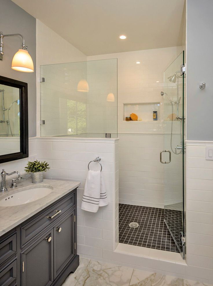 Restoration Hardware Christmas Tree   Traditional Bathroom Also Classic Glass Shower Door Gray Shower Floor Tile Oval Sink Shower Niches Timeless White Subway Tile White Wall Tile with Chair Rail Widespread Faucet