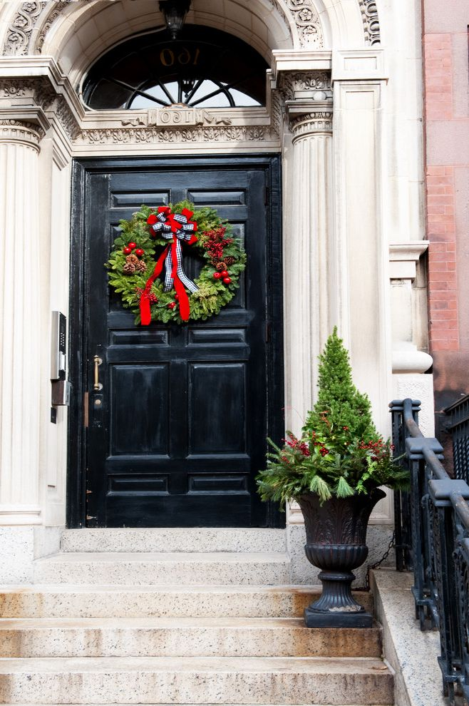 Restoration Hardware Christmas Tree   Traditional Entry Also Back Bay Black Front Door Boston Christmas Column Decor Decorations Front Door Railings Steps Urn