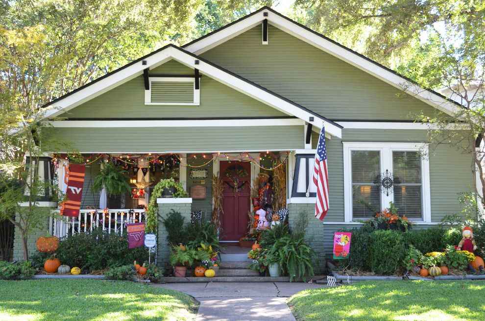 Restoration Hardware Houston   Craftsman Exterior Also American Flag Bungalow Covered Porch Front Porch Gable Roof Green House Green Siding Halloween Decor Halloween Decorations My Houzz Pumpkins Red Door Red Front Door Seasonal Decor Tapered Columns