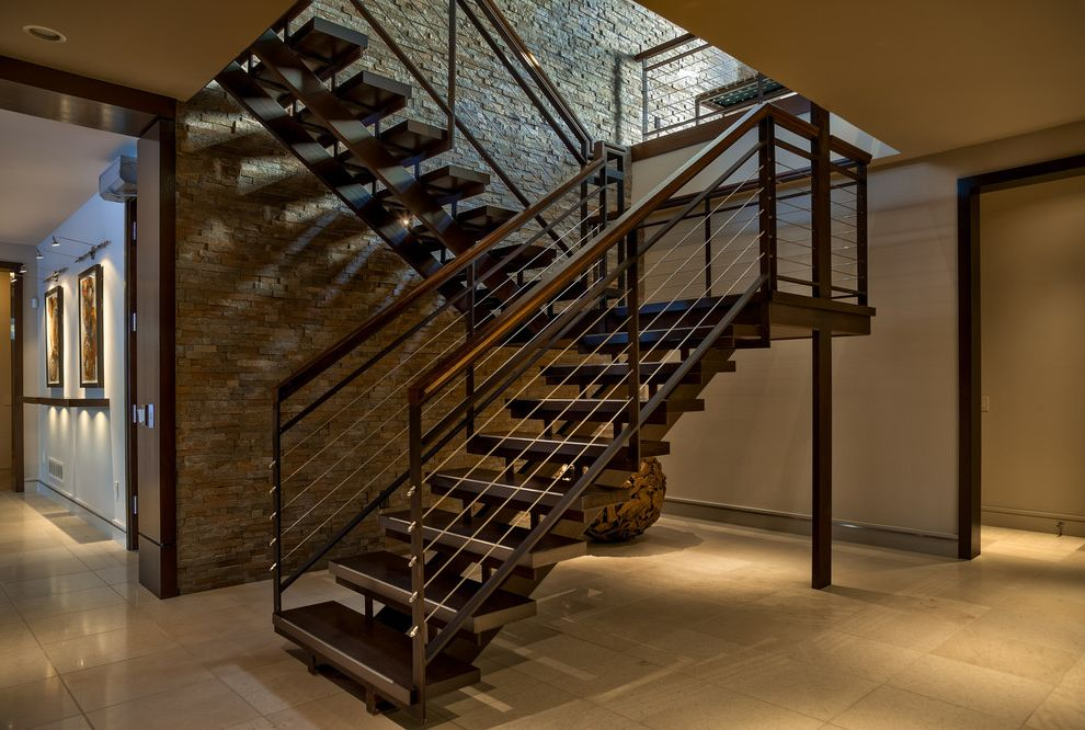 Retaining Walls Omaha Ne   Contemporary Staircase  and Entry Horizontal Cable Railing Stone Wall Stringer Under Stairs Art