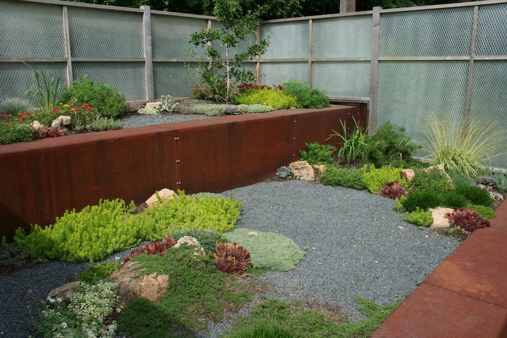 Retaining Walls Omaha Ne   Industrial Landscape  and Corten Gravel Groundcovers Metal Fencing Planters Raised Beds Rock Garden Rocks Rust Sedums Steel Succulents