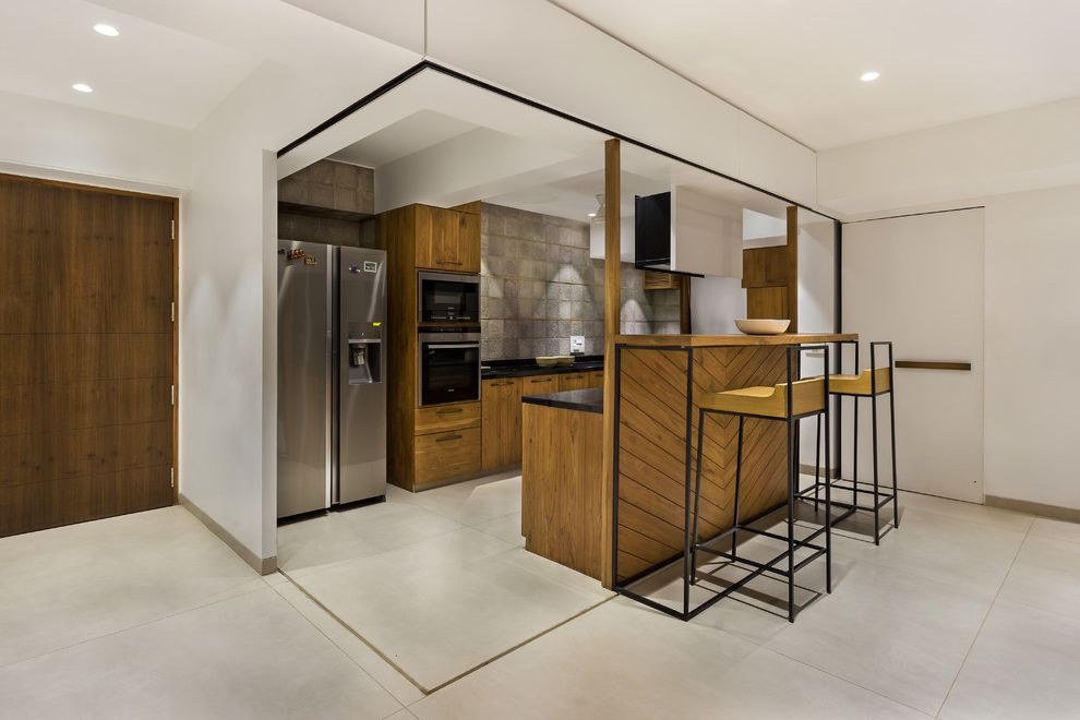 Retractable Glass Doors with Contemporary Kitchen  and Contemporary Indian Kitchen Contemporary Kitchen Modern Apartment Open Plan Timber Kitchen
