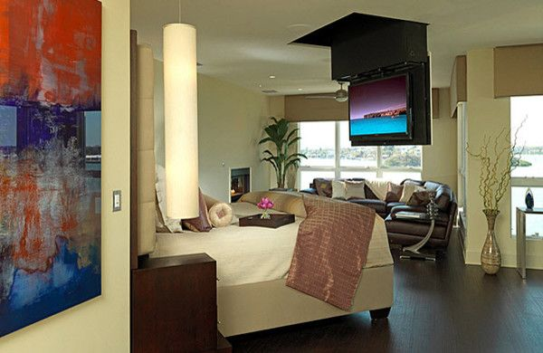 Retractable Tv Ceiling Mount with Contemporary Bedroom and Contemporary Fireplace Master Bedroom