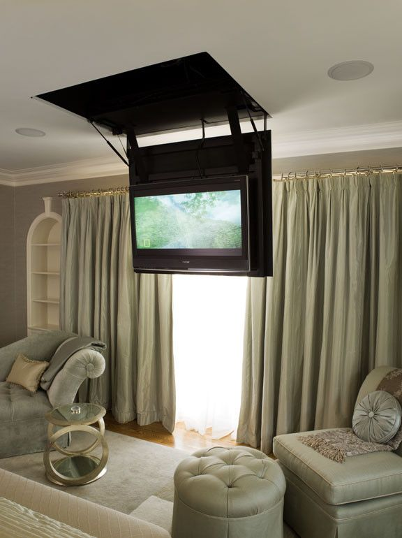 Retractable Tv Ceiling Mount with Contemporary Spaces and Antiques Carved Mantelpiece Custom Furniture Fireplace Fountain Landscape Living Room Media Murphy Bed Outdoor Kitchen Stone Stone Benches Wood
