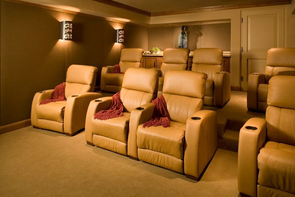 Rialto Theater San Antonio   Mediterranean Home Theater  and Armchairs Built in Carpet Cup Holders Earth Tones Home Theater Leather Chairs Movies Steps Throw Wall Sconces Wall Treatment Wood Cabinets Wood Trim